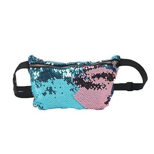 Vertvie Damen Gürteltasche Pailletten Bauchtasche Hüfttasche Umhängetasche Geldbeutel mit Reissverschluss (Champagner) Blau 1