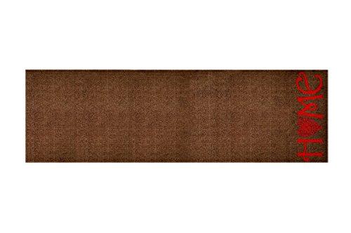 Designer Fussmatte Willkommen - Fussmatten rutschfest und waschbar - Schmutzfangmatte / Fussabstreifer - HOCHFORMAT BRAUN  50x150 cm