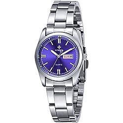 Frauen neue Marke Datum Tag Uhr weiblich Edelstahl Armbanduhr Damen Fashion Casual Armbanduhr Quarz Handgelenk watches-blue