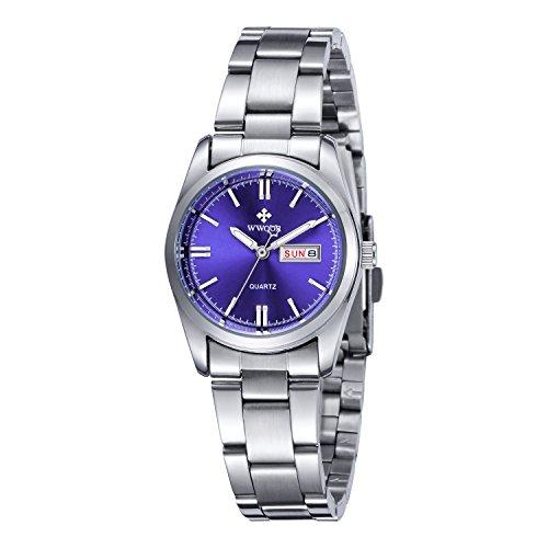 WWOOR Auténtico suizo reloj analógico de acero Inoxidable de ultra plana esfera con calendario con Cristal Resistente a Arañazos y al agua para las mujeres elegantes y modernas del color azul