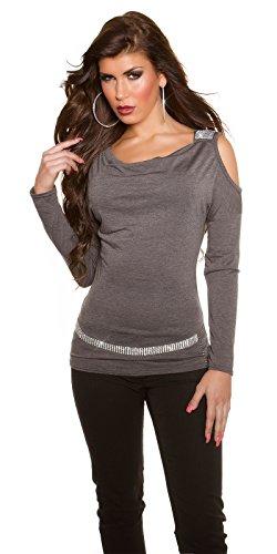 Party-Shirt mit Shoulder-Cutout und Strass-Applikation Anthrazit