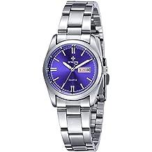 Reloj de muñeca para mujer, fecha / día, acero inoxidable, cuarzo, moda informal, azul