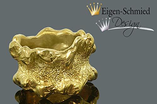 """Goldschmiede Ring \""""fine crushed\"""" in 925er Sterling Silber mit einer 22 karätigen Goldplattinierung, Silber, Gold, massiver Ring, massiv, Damenring, Herrenring, Verlobungsring, breiter Ring, Geschenk, Weihnachten, handmade jewelry, Goldschmuck, accesoirs, Silberschmuck Schmuck,"""
