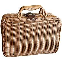 Estuche de almacenamiento de mimbre de imitación vintage para picnic de viaje, cesta