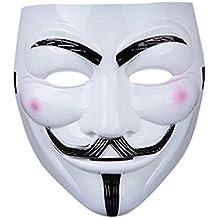 1 x vestido de lujo Adultos PVC calidad máscara con velcro elástica correa V para vendetta Guy Fawkes máscara facial disfraz de Halloween traje de Ultra (1 máscara)