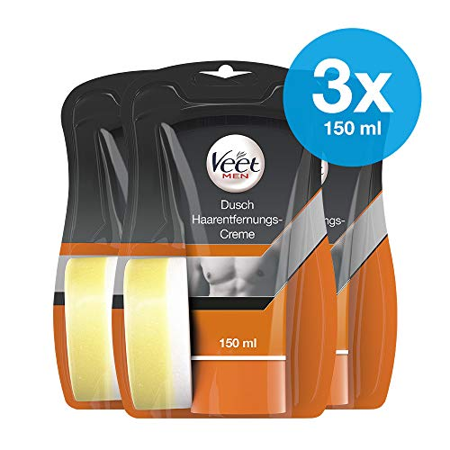 Dusch Enthaarungscreme 3er Pack für Männer für schnelle und effektive Haarentfernung unter der Dusche Veet Men Haarentfernungscreme 3x150ml