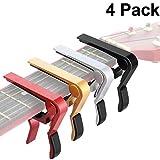 4 Pieces Guitar Capo Aluminum Metal Universal, Acoustic and Classical Electric Guitars, Bass