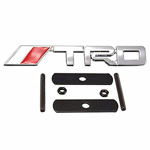 Yongse 1Pcs Auto Car 3D Metal Chrome Silver TRD Logo Front Grille Grill Badge Emblem For TOYOTA