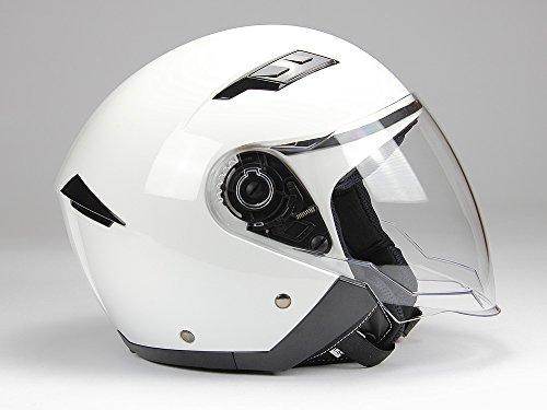 Jethelm mit Langvisier BNO Jet200 Motorradhelm Roller Helm Schutzhelm Weiss (XS-XXL) (XL)