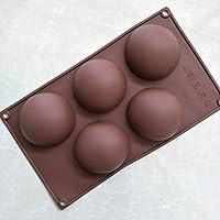 Lorsoul 5 Bricolaje cavidad semicírculo Pastel de Silicona moldes de Chocolate Gumpaste Resina Herramientas de.