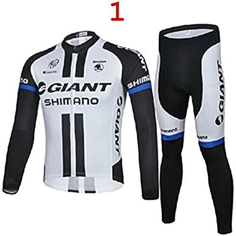 Nueva manga larga de los hombres ciclismo conjunto tamaño S-3XL de Jersey de la bicicleta del gel fit Caída