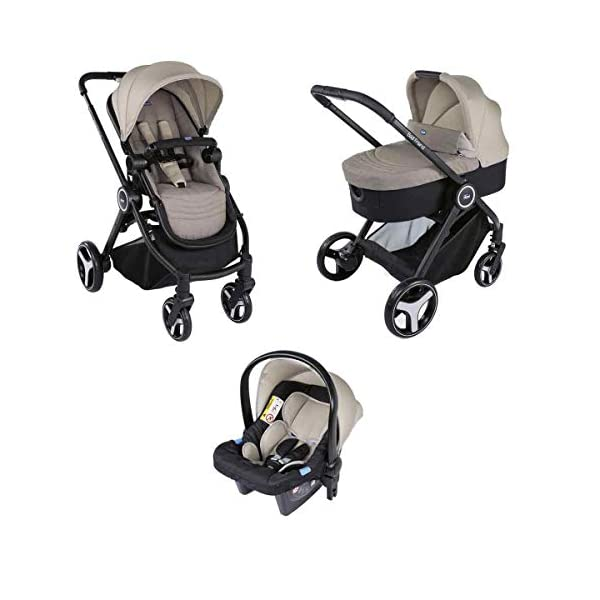 Trio Best Friend Beige 2019 Chicco A stylish and matching 3-in-1 set that is lightweight, versatile and practical Set includes Stroller Pushchair, Carrycot and Carseat Suitable for use from Birth to approx 3 years (Carrycot up to 6m / Carseat up to 13kg) 1
