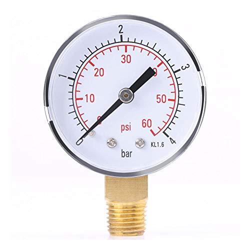 koowaa Praktisches TS-50-4 Manometer 0-4 Bar 0-60 PSI Pool Spa Filter Wasserdruck Manometer 1/4 Zoll Rohrgewinde NPT Seitenmontage