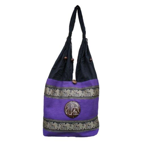 Umhängetasche, thailändischer Stil, bestickt mit Elefanten, 100% Baumwolle, Boho Gr. Medium, violett -