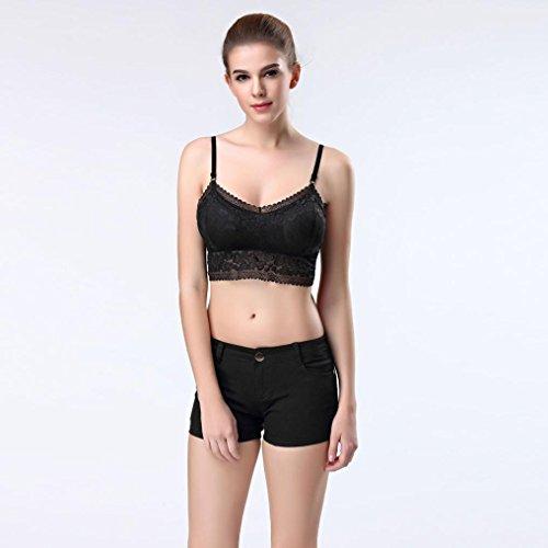 Tefamore Femmes sexy Stripe Bralette Bustier Top Tops Veste de soutien-gorge Noir