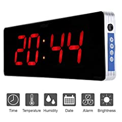 Idea Regalo - Casa Orologio da Parete Digitale Orologio da Parete a LED Digitale Temperatura EU Plug 110-240V (36 * 13 * 3cm) (Ora + Minute)