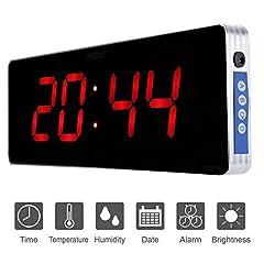 Idea Regalo - Casa Orologio da Parete Digitale Orologio da Parete a LED Digitale Orologio da Parete a Temperatura EU Plug 110-240V (36 * 13 * 3cm-Ora + Minute)