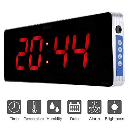 Jeffergarden Home Digitale Wanduhr Digitale Led Kalenderuhr Temperatur Wanduhren Eu-stecker 110-240 V (36 * 13 * 3cm-Stunde + Minute)