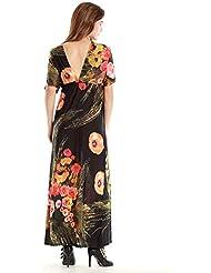 GWCSS Vestido De La Playa Mujeres De Gran Tamaño Vestido De Seda Del Hielo De Bohemia , Black , Xxxl