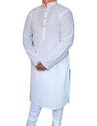 Chikan Brodé Coton Hommes Kurta Pajama Vêtements Indiens