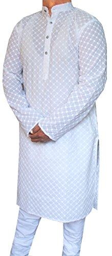 Chikan Gestickte Baumwolle Herren Kurta Pyjama Indische Kleidung (Weiß, XL) (Chikan Kurta)