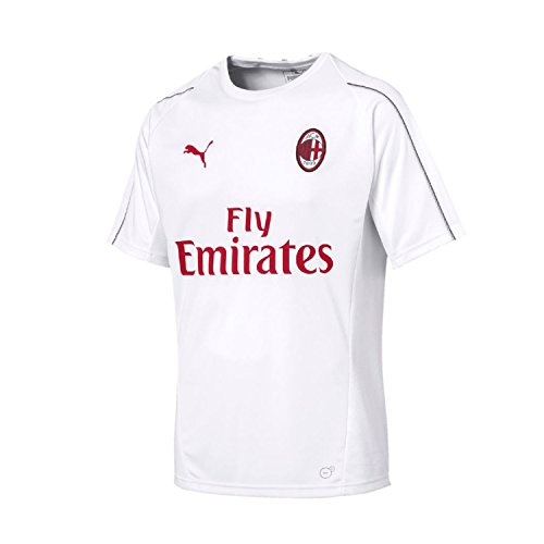 Puma AC Milan Training SS Maillot, Hombre, White/Chili Pepper, M