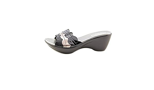 Callisto Womens CIRCE Leather Open Toe Casual Slide Black Combo Size 90