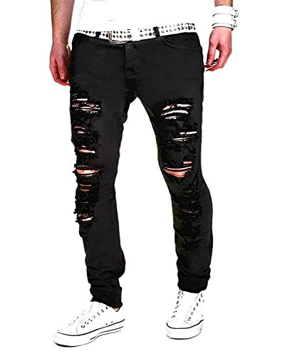 Minetom Sommer Herren Mode Casual Lange Jeans Hose Straight Slim Fit Destroyed Zerrissen Jeans mit Taschen Freizeithosen (EU L, Schwarz) (Gewaschen Slim-fit-denim)