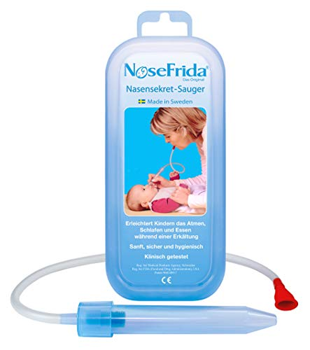 Rotho Babydesign Nasensekretsauger, Inkl. 4 Hygienefilter, Nachfüllbar, Ab 0 Monaten, NoseFrida, 50x2,3x2,3cm,  Blau/Weiß, 200830012