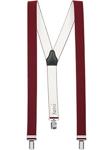 Xeira Bretelles de haute qualité pour Femmes/Homme avec 3 fort clips dans 30 Couleurs - Fabriqué en Allemagne (Bordeaux, Standard - 110cm)