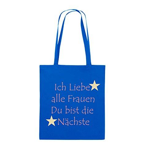 Comedy Bags - Ich liebe alle Frauen du bist die Nächste - Jutebeutel - lange Henkel - 38x42cm - Farbe: Schwarz / Weiss-Neongrün Royalblau / Rosa-Beige