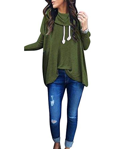Donna Felpa Cappuccio Autunno e Inverno Oversized Maniche Lunghe Sweatshirt Hoodie Esercito Verde