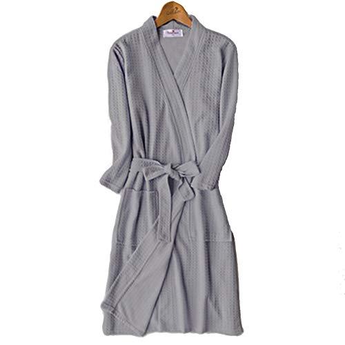 Frauen Kimono Waffel Gewand, Large Size SPA Bademantel Leichte Baumwolle Und Polyester Mischung Geeignet Für Home Hotel,E,XXXL -