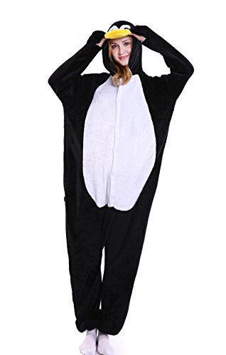 LazLake Jumpsuit Tier Fasching Pyjama Kostüm Onesie Overall Schlafanzug Erwachsene Unisex Kigurumi Penguin M