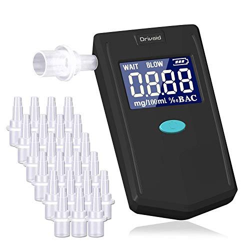 Drivaid Alkoholtester Breathalyzer, Wiederverwendbar Tragbar Atemalkoholmessgerät mit Halbleitersensor, Digital LCD Display und 24 Austauschbare Mundstücke