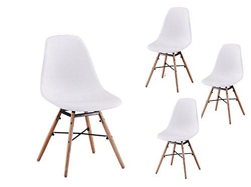 Usinestreet Lot de 4 Chaises scandinaves LUNA Coque plastique et pieds bois - Couleur - Blanc