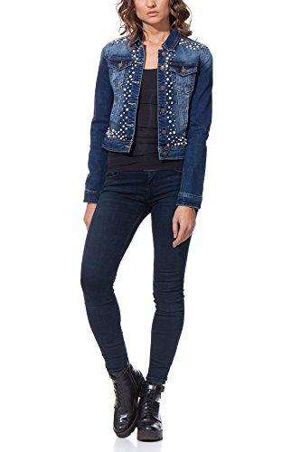 MONDAY PREMIUM - Giacca cropped di jeans con perle e diamanti