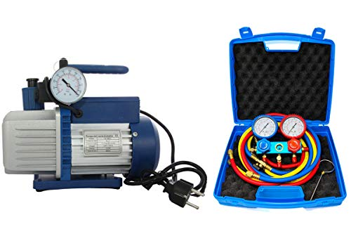 Vakuumpumpe PROFI 70L 2-stufig inkl. Monteurhilfe R410a / R32 für Splitklimaanlagen