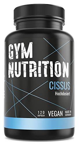 GYM-NUTRITION® Cissus Plus Cissus Quadrangularis Vitamin K2 beliebt bei Verletzungen an Gelenk Muskel, Sehne, Bänder vegan hochdosiert Made in Germany 120 Kapseln