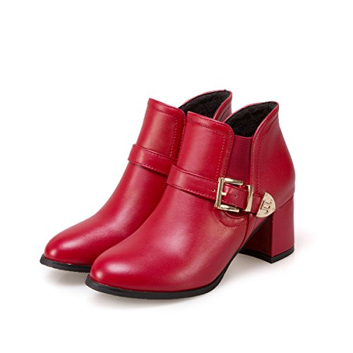 HUA&X Women's Block Ferse Fersen runden Kopf kurz Ankle Boots Schuhe, rot, 34 (Block Ferse Womens)