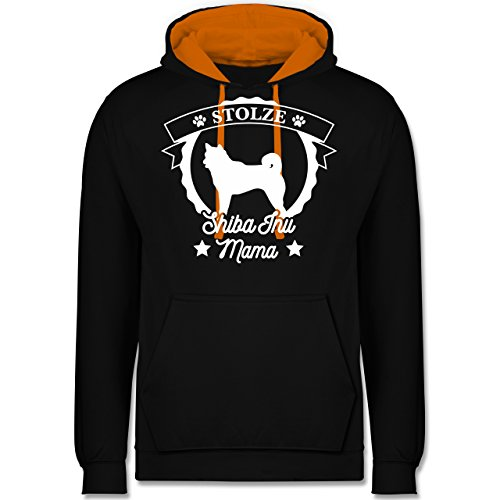 Hunde - Stolze Shiba Inu Mama - Kontrast Hoodie Schwarz/Orange