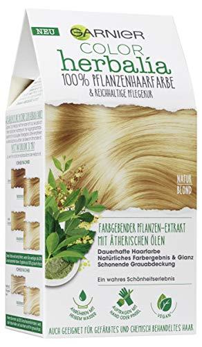 Garnier Haarfarbe (Garnier Color Herbalia, 100% Pflanzenhaarfarbe mit Henna, Indigo, Cassia, vegan, ätherische Öle, naturblond, 3er Pack (3 x 1 Stück))