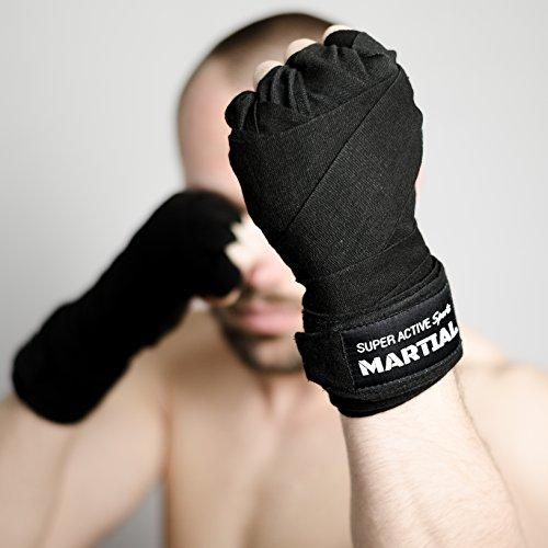 Boxbandagen von MARTIAL mit bestem Klett und Daumenschlaufe. Bandagen ohne Ausleiern für MMA Boxen Kickboxen Abbildung 2