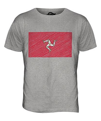 CandyMix Isle Of Man Kritzelte Flagge Herren T Shirt Grau Meliert