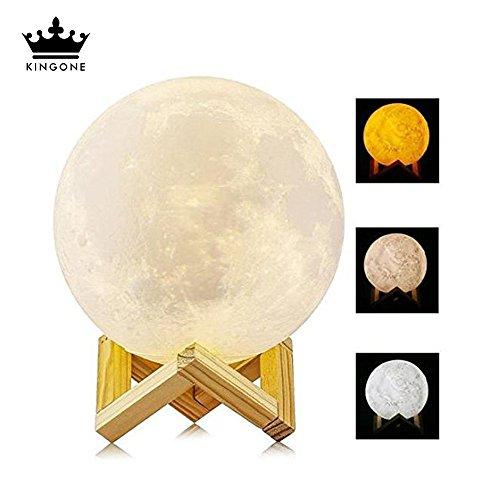 Lámpara de Luna Impresión 3D,KINGONE Control Táctil Lámpara de Mesita Noche LED Con 3 Modo Moon Lamp 3 Colores Diferentes Para Casa, Dormidorio Regalo para Cumpleaños (Tri 3d Imprimir 10cm)