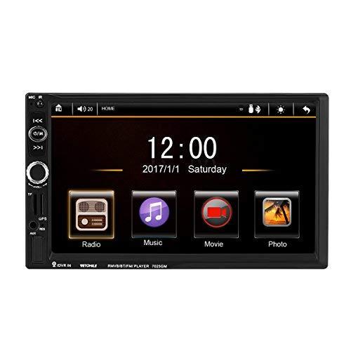 VETOMILE 7' 2 DIN Autoradio TFT HD Touch Screen MP3/MP5/FM Stereo Radio Multimediale per Auto con Bluetooth/Navigazione GPS Autoradio con Mappa Europea Incorporata e Telecamera Posteriore