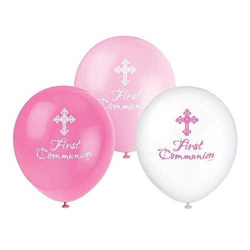 Unique Party Supplies 30,5cm Latex strahlend Kreuz pink First Communion Luftballons, 8Stück