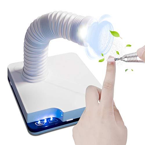 Klaury Nagel Staubsammler, 60W Saugstaub Maschine Staubsauger mit LED-Licht Touch-Sensor Nail Art Maniküre Gerät einziehbaren Ellbogen Design Fan