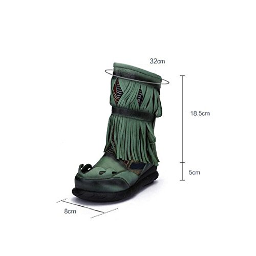 YYH Retro Wedges Tassel Short cuir bottes National Style garder chaud anti-dérapant en caoutchouc fond hiver bottes Chaussures femmes Green