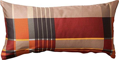 Erwin Müller Zusatz-Kissenbezug, Kissenhülle Flanell Karo rot-braun Größe 80x40 cm -pflegeleicht, bügelleicht, 100% Baumwolle, mit Reißverschluss (weitere Größen) -